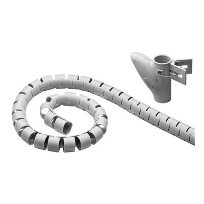 Flexible spiral coiled tube (2.5 m) for clean storage; silver