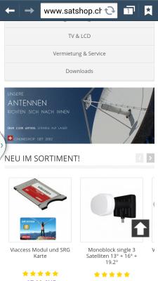 mobiler webshop satshop.ch optimiert für tablets und ipads