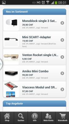 Mobile Webseite Ansicht Neue Produkte, Top Produkte