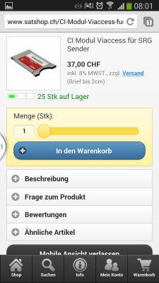 mobiler webshop satshop.ch produkte details ansicht